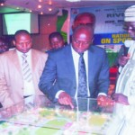 Rivers State Governor, Rt Hon Chibuike Amaechi (2nd right) flanked by Engr Sani Ndanusa, Minister/chairman, National Sports Commission (right) and Chief Patrick Ekeji, Director-General National Sports Commission, while inspecting the prototype of the game village for the national sports fiesta, held at the Hotel Presidential, Port Harcourt, yesterday