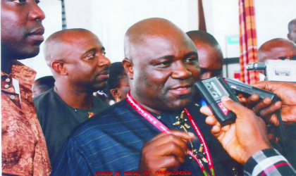 Newly elected president of Commonwealth Parliamentary Association and Speaker, Rivers State House of Assembly, Rt Hon Tonye Harry, answering questions from Journalists, at the opening ceremony of the CPA conferecne in Port Harcourt, last Monday.