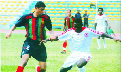 Heartland striker, John Owoeri in action against FAR of Morocco, during a Champions League match in Owerri.