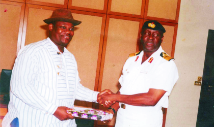 Rivers State Deputy Governor, Engr Tele Ikuru (left) presenting a souvenir to Rear Admiral Dele Ezeoba, chairman, Inter-Agency Maritime Security Task Force, when he led members of the task force on a courtesy visit to Government House, Port Harcourt, recently