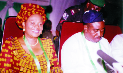 Minister of Information and Communication, Prof Dora Akunyili and Benue State Governor, Hon Gabriel Suswan at the  opening of the 40th National Council on Information and Communication meeting at the Isah Kantogora Arts and Culture Centre, Makurdi, Benue State, recently