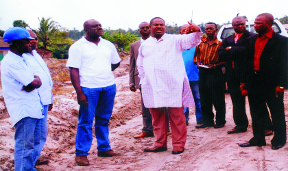 Rivers State Deputy Governor, Engr Tele Ikuru (middle), with project manager, Rivigo JV Nigeria Ltd, Engr Saba Jubril (3rd left) during an inspection of the Ogoni -Andoni-Opobo Unity Road, recently.