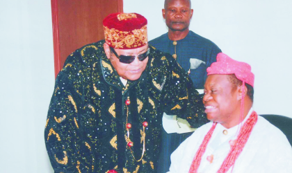 Sir Dr Chukwumela Nnam Obi II Eze Ogba of Ogbaland and Chairman, Rivers State Council of Traditional Rulers (right) listens to Amayanabo of Opobo, King Dandeson Jaja at the office of the Speaker, during a courtesy visit to the Speaker of the State Assembly by members of the council of traditional rulers, recently. Photo Chris Monyanaga