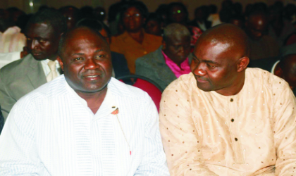 """Speaker, Rivers State House of Assembly, Rt Hon Tonye Harry (left) and Hon Magnus Abe , Secretary to State Government, listening to a paper presentation on """"Free Budgeting"""", at a budget seminar, held at the  auditorium of Ministry of Justice, last Tuesday"""