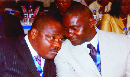 Secretary to Rivers State Government (SSG) Hon Magnus Abe (right0 in a chat with the Chief of Staff, Government House, Port Harcourt, Chief Nyesom Wike at the 5-day retreat for top Rivers State Government functionaries at the Tinapa Resort, Calabar, Cross River, recently.