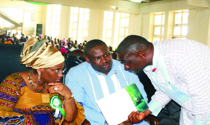 Pic 1; Wife of Rivers State Governor, Dame Judith Amaechi (left) discussing with Deputy Governor,  Engr. Tele Ikuru, (centre) and Hon. Magnus Abe, Secretary to the State Government at a church service to mark the 2009 Independence day celebration, yesterday