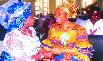 Pic 2; Wife of Rivers State Governor, Dame Judith Amaechi (right) chatting with former Deputy Governor's wife, Dame Christy Toby, during the inter-denominational church service, marking the 49th Independence anniversary at St. Paul's Cathedral, Diobu, Port Harcourt, yesterday. Photo: Egberi Sampson