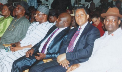 Cross section of dignitaries at the Accountability Forum held by Rivers State Governor, Rt Hon Chibuike Amaechi at the Alfred Diete Spiff Civic Centre, last Monday. From( R-L) Deputy Governor, Engr Tele Ikuru, Minister of State for Petroleum, Mr Odein Ajumogobia (SAN), Speaker, State House of Assembly, Rt Hon Tonye Harry, National Secretary, Peoples Democratic Party (PDP)  and Prince Uche Secondus, National Organising Secretary, representing the executive of the party at the event.