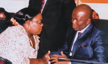 Dr Dawari (right) and Mrs Ibim Seminetari,  two of the six new commissioner sworn-in yesterday by Rivers State Governor, Rt Hon Chibuike Rotimi Amaechi, exchanging views after the ceremony. Photo: Chris Monayanaga