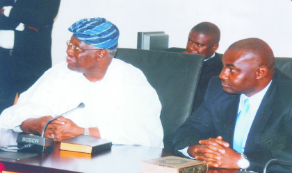 Peoples Democratic Party (PDP) chieftain in the South-West, Chief Bode George (left) and Secretary to Rivers State Government, SSG, Hon Magnus Abe during the swearing in ceremony of six new commissioners by Governor Chibuike Rotimi Amaechi at Government House, Port Harcourt, recently.