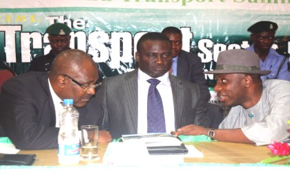 Rivers State Governor, Rt Hon Chibuike Rotimi Amaechi (right) listening to the chairman of TSI Property and Investment Holding Limited, Gen Anthony Ukpo (rtd) while the state Commissioner for Transport, Hon George Tolofari (middle) watches, during the 2nd Rivers State Summit at Hotel Presidential, Port Harcourt, yesterday. Photo: Donatus Ken