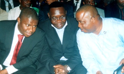 Rivers State Commissioner for Youth Development, Nwaeke Felix Uche (right) chatting with his counterparts for Works, Hon Dakuku Peterside (left) and Social Welfare & Rehabilitation, Hon Joe Philip Poroma (middle) during the 2nd Rivers State Transport Summit at Hotel Presidential, Port Harcourt, yesterday.