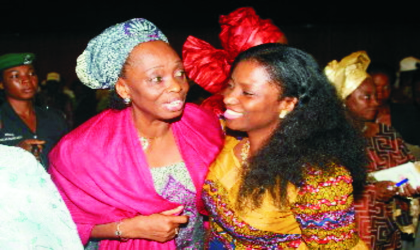 Wife of Rivers State Governor Dame Judith Amaechi, in a warm embrace with her Ebonyi State counterpart, Chief Mrs Josephine Elechi during the official launching of campaign on Accelerated Reduction Of Maternal Mortality In Africa (CARMMA), Abuja recently.