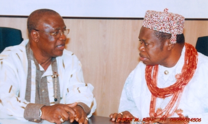 Chairman, Rivers State Council of Traditional Rulers , Eze Chukwumela Nnam Obi II, Oba of Ogbaland,(right) listens to Ambassador Umejuru, during a stakeholders meeting at Government House, Port Harcourt, recently.
