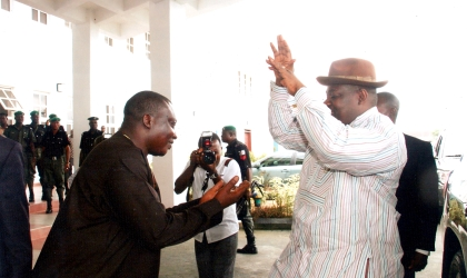 Rivers State Deputy Governor, Engr Tele Ikuru (right) sharing a joke with Deputy Speaker, Rivers State House of Assembly, Hon Dumnamene Dekor during the visit of Governor Amaechi to the House as part of activities marking his second anniversary in office, Thursday. Photo: Chris Monyanaga