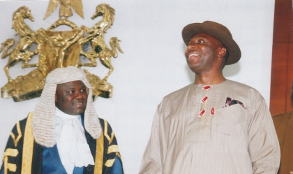 Rivers State Governor, Rt Hon Chibuike Rotimi Amaechi (right) with the Speaker of the State House of Assembly, Rt Hon Tonye Harry during the former's visit to the Assembly as part of activities to mark his 2nd year in office, Thursday. Photo: Chris Monyanaga