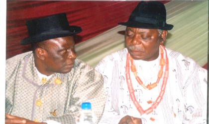 Amayanabo of Twon Brass and first Military Governor of old Rivers State, King Alfred Diete Spiff (right) conferring with the Vice Chairman of Bayelsa State Council of Traditional Rulers, King Jonathan Kubor at the South-South traditional leaders retreat held at the Hotel Presidential, Port Harcourt, yesterday. Photo: King Osila