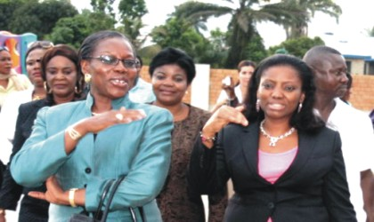 Wife of Rivers State Governor, Mrs Judith Amaechi(right) and the Administrator, Greater Port Harcourt Authority, Mrs Aleruchi Cookey-Gam at a public function, recently.