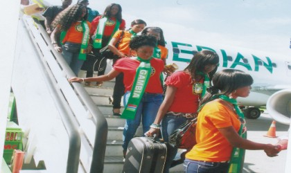 ECOWAS queens arriving Port Harcourt Airport, Omagwa, yesterday.