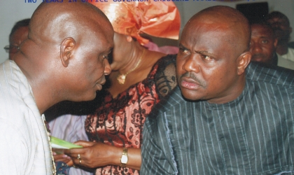 Chief of Staff, Government House, Port Harcourt, Chief Nyesom Wike (right) in a chat with Hon Marcus Nle Eji, Commissioner for Culture and Tourism, during the thanksgiving service to mark the 2nd anniversary of Governor Amaechi at the Corpus Christi Cathedral last Sunday. Photo: Chris Monayanga