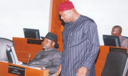 Leader, Rivers State House of Assembly, Hon Chidi Lloyd (standing) presenting a bill aimed at checking the performance of  Local Government Councils in the state at the House sitting, Monday