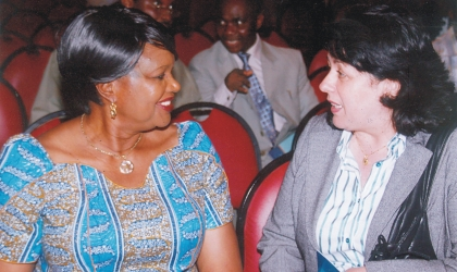 Rivers State Head of Service, Mrs Esther Anucha (left) with Dr Elizabeth Didia, Director Of ICT, during the launching of Rivers State Government E -service Portal in Port Harcourt, yesterday. Photo: Chris  Monyanaga