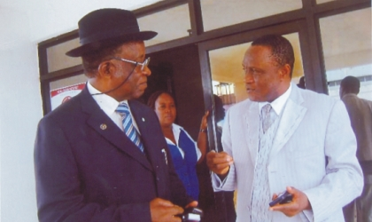 Senator (Chief) Tari Sekibo (left) discussing with Chief Jasper Jumbo at the Port Hatcourt International Airport, Omagwa, recently.