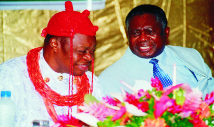 Chairman of Rivers State Council of Traditional Rulers, His Eminence, Sir (Dr) Chukumela Nnam Obi II, exchanging views with Justice A. G. Karibi Whyte at the 3rd Bi-Annual National Conference of Special Advisers of State Governors, at the Hotel Presidential, Port Harcourt, last Wednesday.  Photo: Nwiueh Donatus Ken