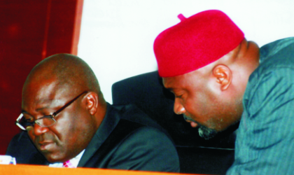 Speaker of Rivers State House of Assembly, Rt. Hon. Tonye Harry (left) listening to Leader of the House, Hon Barr Chidi Lloyd during a sitting of the house last Tuesday. Photo: Chris Monyanaga.