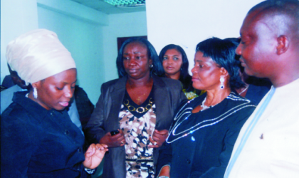 Wife of Rivers State Governor, Dame Judith Amaechi interacting with some female child rights activitsts during a visit to the State House of Assembly. With them is the Deputy Speaker, Hon Dumnamene Dekor (right).