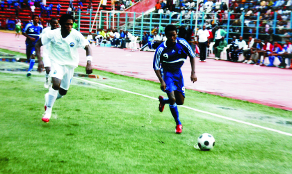 Sharks' FC's Victor Ezeji (with ball) on Prawl. A lot is expected of his experience