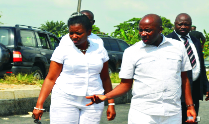 Governor Chibuike Rotimi Amaechi of Rivers State, explaining a point to his wife, Judith, at the Rumuokwuta/Choba project site, during an inspection exercise, yesterday.