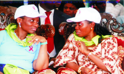 Wife of Rivers State Governor, Dame Judith Amaechi (left), discussing with the National Co-ordinator, National Women Coalition on HIV/AIDS, Mrs Maureen Onyeiwu, during the launching of NAWOCA Rivers chapter, by Mrs Amaechi, at Isaac Boro park, Port Harcourt, last Monday. Photo: Chris Monyanaga