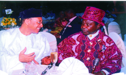 Director, Lagos Business School, Prof. Pat Utomi (left) and the Amayanabo of Kalabari, Prof. T. J. T. Princewill exchanging views during the ION Film Festival held at the Polo Club, Port Harcourt, recently. Photo: King Osila.