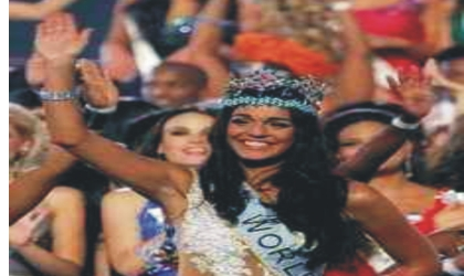 Miss Gibraltar Waves after being crowned the 59th Miss World pageant held in Johannesburg, South Africa, over the weekend. An estimated one billion viewers watched the final.