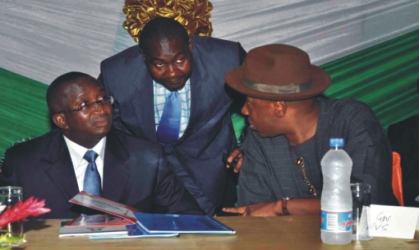 Rivers State Governor, Rt. Hon. Chibuike Rotimi Amaechi (right) exchanging ideas with Senator Victor Ndoma-Egba (left) and Secretary to Rivers State Government, Hon. Magnus Abe, during the public hearing on review of the 1999 Constitution for the South-South Zone, at Hotel Presidential, Port Harcourt, last Monday.