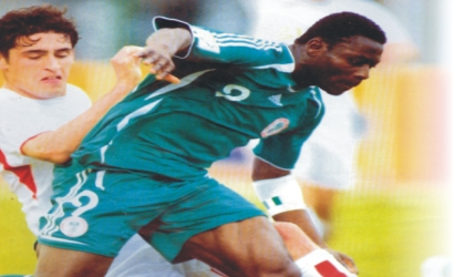 """Super Eagles' """"Weapon of Mass Destruction"""", Obafemi Martins (9) in action. There are fears he might not be fit for the Nations cup."""
