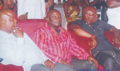 Member, Rivers State House of Assembly, Hon. Otelemaba Amachree (centre) flanked by Rivers State Commission for Culture and Tourism, Hon Marcus Nle Eji (right) and Hon. Felix Nweke, Commissioner for Youths Development, at the Gala Night marking the end of the CARNIRIV 2009, at the weekend.