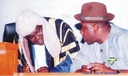Rivers State Governor, Rt. Hon. Chibuike Rotimi Amaechi (right) conferring with the Speaker, Rivers State House of Assembly, Rt. Hon. Tonye Harry, during the Governor's presentation of 2010 Budget, at the Assembly Chambers,  yesterday.