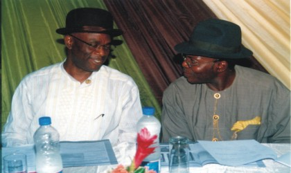 Group Managing Director, Geo-Fluids Plc, Dr Ibanibi (left) exchanging pleasantries with the Director, Chief Emmanuel Ibanichuka at the 2009 Annual General Meeting of Geo-Fluids, at Hotel Presidential, Port Harcourt, on Tuesday. Photo: Nwiu Donatus Ken.