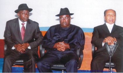 First Speaker of Old Rivers State House of Assembly, Rt. Hon. R. R. Briggs (right), Rivers State PDP Chairman, Chief G. U. Ake (middle) and a former speaker of Rivers State House of Assembly, Hon. Stephen Ezekwem, during the Governor's 2010 Budget presentation, at the Rivers State House of Assembly, yesterday.