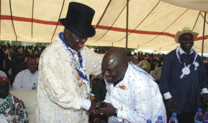Former Inspector-General of Police, Sir (Dr) Mike Okiro (left) welcoming Speaker, Rivers State House of Assembly, Rt. Hon. Tonye Harry at the reception organised in honour of the IG and Speaker, Imo State House of Assembly, Rt. Hon. Goodluck Opiah, last Wednesday.