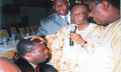 Vice Chairman, Pentecostal Fellowship of Nigeria , South-South, Dr Omobude, praying for Rivers State PFN chairman, Apostle Zilly Aggrey, during the inauguration of Rivers PFN executive council members, on Tuesday.