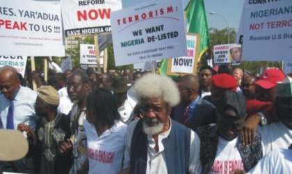 Noble Laureate, Professor Wole Soyinka (middle) leading others to protest the absence of President Umaru Musa Yar'Adua and his inability to handover to Vice President Goodluck Jonathan, yesterday, in Abuja