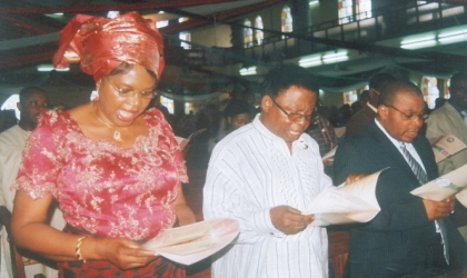 Rivers State Head of Service, Mrs Esther Anucha and her husband, Dr Dominic Anucha and President Customary Court of Appeal, Justice Peter Agumagu at 2010 Armed Forces Remembrance Day celebration at St Cyprians Anglican Church, Port Harcourt last Sunday