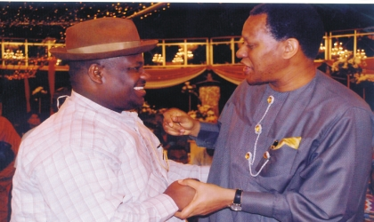 Rivers State Deputy Governor, Engr Tele Ikuru (left), exchanging pleasantries with Minister of State for Petroleum, Mr Odein Ajumogobia, during the Justice Oputa Awards at Thisday Dome, Abuja, recently.