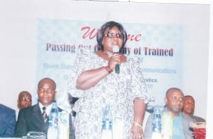 Rivers State Commissioner of Information and Communications, Mrs Ibim Semenitari  addressing the audience at the passing-out ceremony of information officers trained on ICT by the state Ministry of Information, yesterday.                                                                                                                                                                                         Photo: Chris Monyanaga