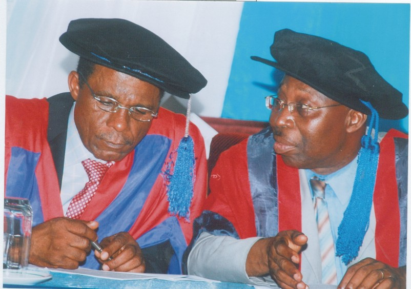 Prof Bernard Efiuwevwere, Deputy Vice Chancellor (Academics), University of Port Harcourt (right) conferring with Mr Messiah Onyige, Registrar of the university, during the inaugural lecture presented by  a lecturer, Prof Enoch Okechukwu Nwachukwu at Ebitimi Banigo Hall, last week.