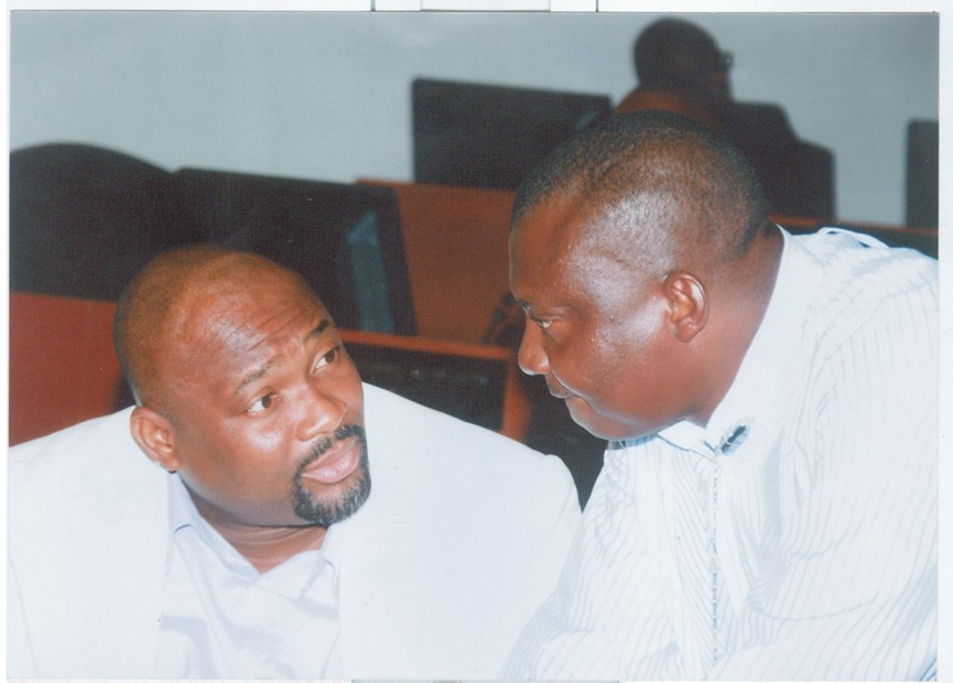 Deputy Speaker, Rivers State House of Assembly, Hon Dumnamene Deekor (right) conferring with the leader of the House, Hon Chidi Lloyd during a sitting of the House,last Thursday.