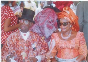 High Chief O.B Lulu Briggs and his wife, Dame Senye, during the birthday celebration of Prof T.J.T Princewill, Amayanabo of Kalabari and chairman, Rivers State Council of  Traditional Rulers,  at King Amachree Square Buguma, last Saturday.                                                                                                        Photo: Egberi Sampson